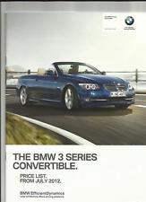 BMW 3 SERIES CABRIO inc.se, M sport, sport plus ed.prices opuscolo luglio 2012