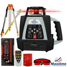 500M Self Leveling Rotary Laser Level w Digital Receiver Tripod Staff Red Beam