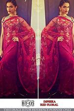 New Elegant Nylon Net Red Sari Bollywood Style Wedding Fashion Wear Saree BT-135