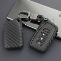 Carbon Fiber Key Fob Chain Ring Case Cover Keychain Accessories For Lexus