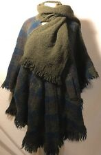 Boyne Valley Weavers Handmade in Ireland Plaid Wool Poncho Sweater Scarf Celtic