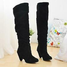 Womens Stylish Over Knee Faux Suede Stretch Thigh High Slouchy Low heel Boots
