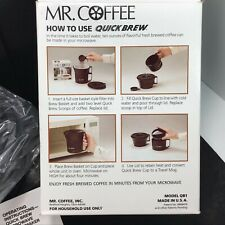Mr. Coffee Quick Brew Microwave Coffeemaker 10oz TRAVEL MUG Incl Snap On Lid NOS