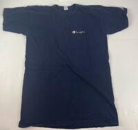 Vintage Champion Basic T-Shirt Spell Out 90s Script Navy Blue Logo Size Large
