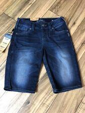 NWT $60 Silver Jeans Plus Size Suki Mid/Bermuda Denim Shorts 27 A176