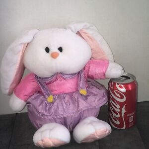 Plush '94 Bunny Rabbit Female Stuffed Animal Gibson Greetings Pink Purple Outfit