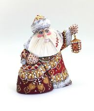 Russian SANTA with LANTERN Russian Wooden Hand Carved Hand Painted Signed