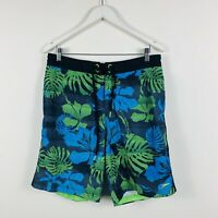 Speedo Mens Board Shorts Size Medium (32-34) Floral Blue Green Design Swimmers