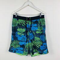 Speedo Mens Board Shorts Size Medium (32-34) Floral Blue Green Design Swimmers