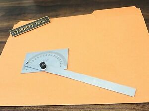 Starrett No.C183 Steel Protractor With Satin Chrome Finish & 6 Inch Long Blade.