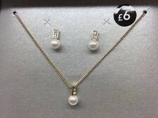 🎀 Necklace & Earrings Gift Set 🎁 Gold Cubic Zirconia & Pearl 🎁