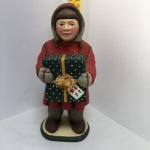 LEO SMITH FOLK ART 'OUR TOWN CHRISTMAS KIDS' 11.5 INCH GIRL GIFT DEPT 56 Repair