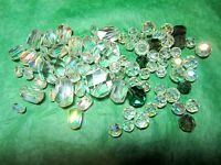 """CLEAR CRYSTAL GLASS BEAD LOT - 60+ APPROX 1/4""""-5/8"""" BEADS (36x)"""