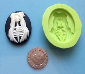 Lady Skeleton - style 2 -  Cameo silicone mould - cake decorating, sugarcraft