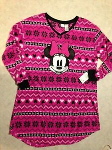 Minnie Mouse Pajamas Womens Fleece Night Sleep Shirt PJs Disney Christmas NEW!!!