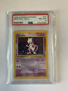 1999 Pokemon Base Mewtwo Holo Spanish Psa 8