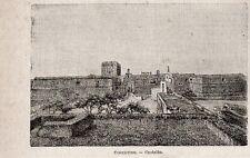 Stampa antica COPERTINO veduta del castello Lecce Puglia 1897 Old Print