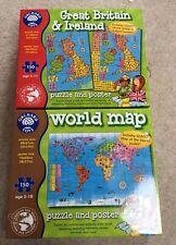 ORCHARD TOYS GREAT BRITAIN & IRELAND 150 Piece Jigsaw Puzzle & WORLD MAP Jigsaw