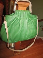 H&S Collection Made in Italy Leather Green/Taupe Large Satchel/Shoulder Bag