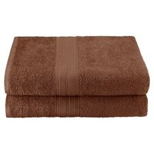 Set of 2 Brown Ring Spun Combed Cotton Soft and Absorbent Bath Sheet Towels