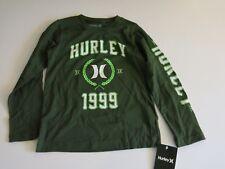 Hurley Boys 7 Long Sleeve T-Shirt Tee Carbon Green 100% Cotton NWT