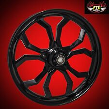 "Harley Davidson 21"" inch Black Front Wheel ""Widow"" Blackout Series FTD Customs"