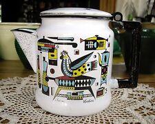 Vintage Enamelware White Coffee Pot w/ Decorative pattern Swan Verdini ~