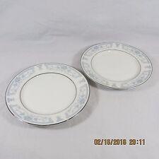Sheffield Blue Whisper Bread Butter Plates Set 2 White Blue floral silver trim