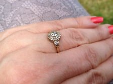 FABULOUS VINTAGE 9ct YELLOW GOLD DIAMOND CLUSTER RING size N