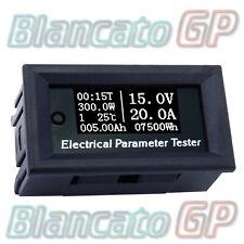 7in1 OLED Bianco indicatore carica termometro amperometro voltmetro wattmetro DC