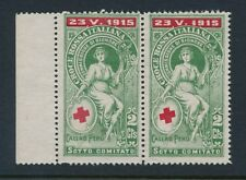 ITALY 1915 WW1 RED CROSS CALLAO PERU 2c CHARITY LABEL MARGINAL PAIR...L1