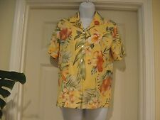 Tommy Bahama Print 97% Silk, 3% spandex Button Down Blouse Floral radiant color