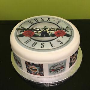 Guns n Roses pre-cut Edible Icing Cake Topper or Ribbon