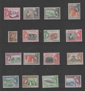 DOMINICA  1954 QEII SET OF 16 MNH