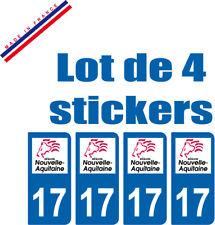 4 STICKERS PLAQUE AUTO IMMATRICULATION DEPARTEMENT 17 logo AQUITAINE Lion Rouge