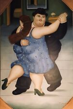 WOMAN AND MAN TANGO DANCING ORIGINAL OIL ON CANVAS PAINTING