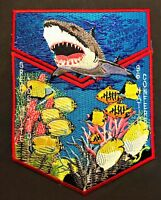 BSA OA ORDER OF THE ARROW GREAT WHITE LODGE 1996 NOAC SHARK & REEF FISH 2-PATCH
