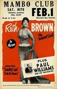 1950's Ruth Brown Mambo Club METAL TIN SIGN POSTER WALL PLAQUE