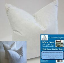 "2 - 26"" x 26"" Pillow Insert: 72oz. White Goose Down - 2"" Oversized & Firm Filled"