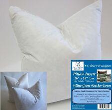 "2 - 26"" x 26"" Pillow Insert: 72oz. White Goose Down - 2"" Oversized & Firm Filled"