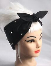SPIKES Black Hair Wrap Headband Punk Rock Head Scarf Rockabilly STUDS studded