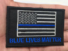 BLUE LIVES MATTER American USA Flag Police Tactical Morale HOOK Patch   sh  855
