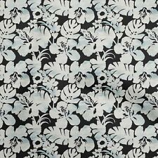 oneOone Cotton Flex Black Fabric Floral & Leaves Sewing Material-wRh