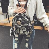 Women Plush Leather Satchel Shoulder Backpack School Rucksack Bags Travel Bag