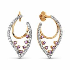 585/14ct Russian Rose Gold Stud Earrings With Amethyst Gift Boxed