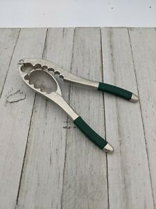 Vintage Heavy Duty Nut Cracker Hand Held Cone Pliers With Green Handles