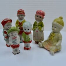 Lot 6 Japanese Painted Bisque Dolls 4 Children 1 Woman 1 Baby