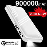 Power Bank 900000mAh Portable LED LCD External Battery Backup 2USB Charger