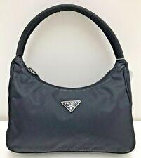 auth vintage Prada black nylon tessuto leather purse wallet hobo hand bag