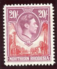 Northern Rhodesia 1938 KGVI 20s carmine-red & rose-purple MLH. SG 45. Sc 45.